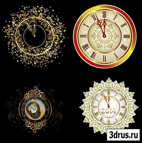 Клипарт - Новогодние узорные часы со стрелками к двенадцати на прозрачном фоне PSD