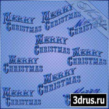 Многослойный PSD исходник для photoshop - Рождественские надписи