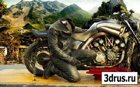 Мужской шаблон-с красивым мотоциклом