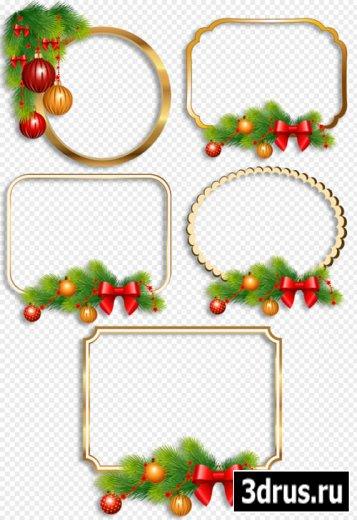 Клипарт - Новогодние рамки вырезы украшенные еловыми веточками и игрушками на прозрачном фоне
