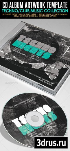 Techno Nights Mixtape CD Artwork PSD Template