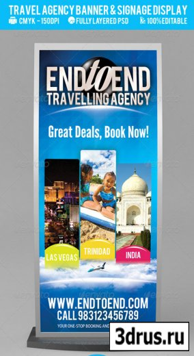 Travel Agency Banner & Signage Display PSD
