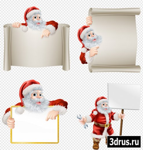 Клипарт - Дед морозы с поздравительными свитками и плакатами на прозрачном фоне PSD