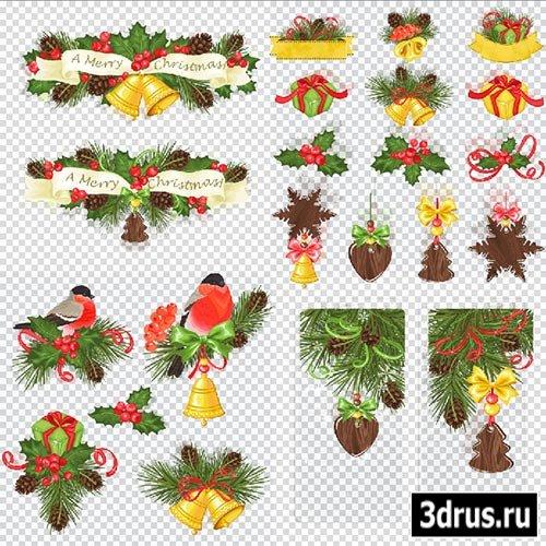 Клипарт - Новогодние украшения веточки с шишками и снегирём на прозрачном фоне PSD