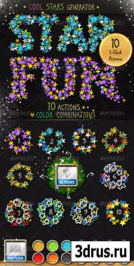 Stars Glitter Sequins Photoshop Action Generator