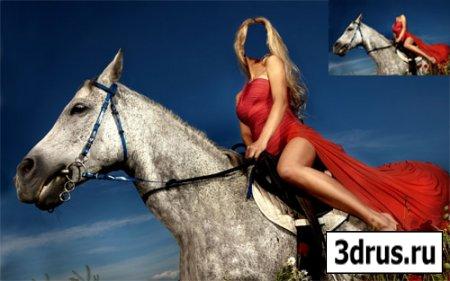 Шаблон для фото - На лошади по маковому полю