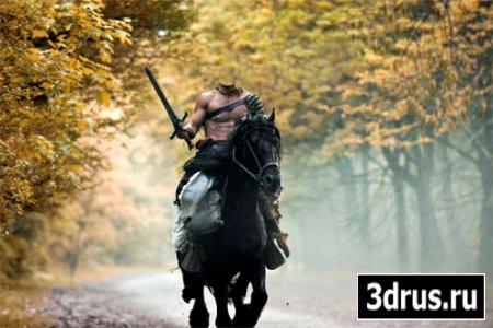 Шаблон для фото - Мужественный воин на коне