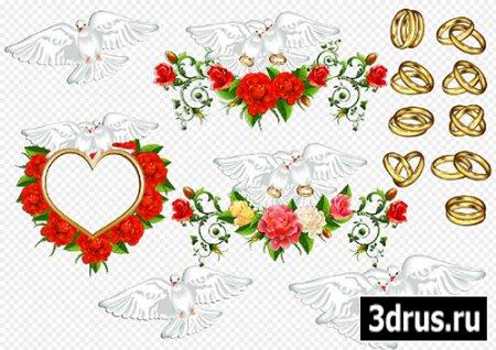 Клипарт- Свадебные голуби с обручальными кольцами рамка из роз в виде сердца на прозрачном фоне
